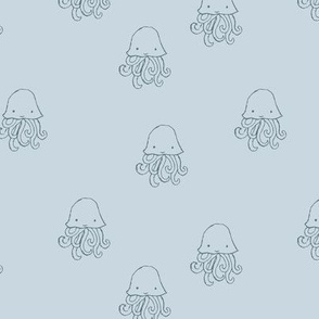 Sweet little jelly fish under water ocean animals series kids baby light blue gray boys