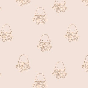 Sweet little jelly fish under water ocean animals series kids baby cream blush nude ochre