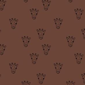 Sweet little giraffe friends safari animals minimalist boho style nursery earthy neutral chocolate brown