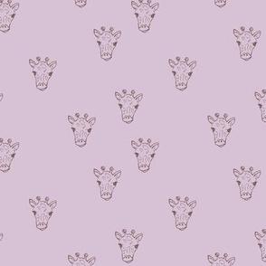 Sweet little giraffe friends safari animals minimalist boho style nursery earthy neutral lilac girls