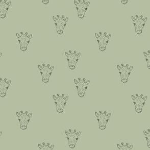 Sweet little giraffe friends safari animals minimalist boho style nursery earthy neutral sage green