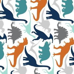 Little Dinosaur Friends -Navy Orange Grey -Rotated