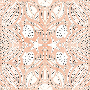 Seashell block print in peach