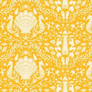 summer beach damask goldenrod yellow large