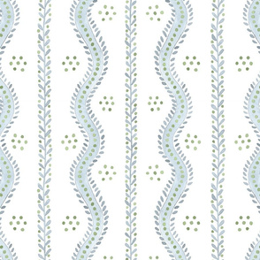 ANDREW STRIPE Soft Blue and Greens on White