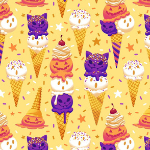 Spooky Ice Cream Friends on Yellow 2X