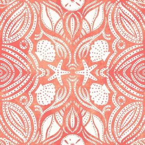 Seashell Block print on Papaya and Coral Tie Die