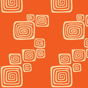 squared spirals in blood orange