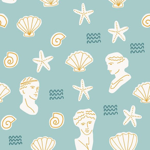 Underwater Archeology Shells Starfish and Ancient Greek Statues in teal off white and golden