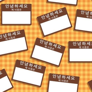 Scattered Korean 'hello my name is' nametags - brown on orange and yellow gingham