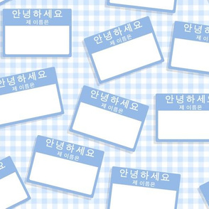 Scattered Korean 'hello my name is' nametags - baby blue on pale blue gingham