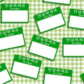 Scattered Korean 'hello my name is' nametags - green on light green gingham