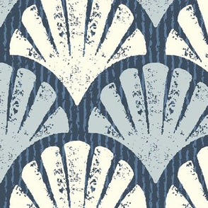 Scallop Shells Navy, Lapis + Lime Large Scale