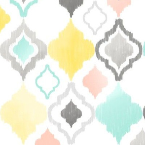 Peach, Teal, Yellow, and Grey Quatrefoil