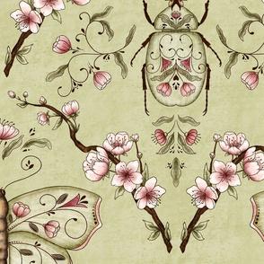 Bellanora spring damask pattern green large