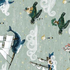 Horizontal Nautical Fantasy Sea Turtle Islands, Whale and Narwhal Tall Ships Sky Adventure Large scale,  jumbo, unisex, kids nursery, baby  boy