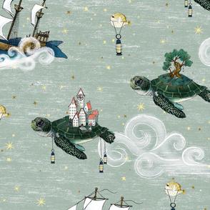 Large Nautical Fantasy Sea Turtle Islands, Whale and Narwhal  Tall Ships Sky Adventure jumbo, unisex, kids nursery, baby  boy