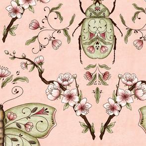 Bellanora spring damask pattern pink large
