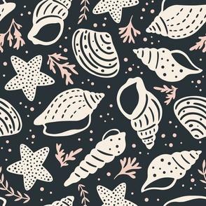 Seashells - Large Scale Black Pink
