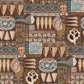 "Tribal Seashells Mudcloth // Hawaiian Tapa (dark oak) 18"""