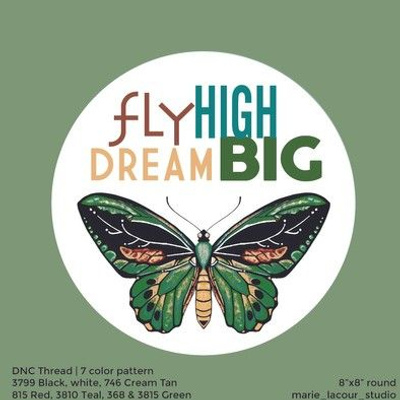 Fly High, Dream Big - Butterfly embroidery template
