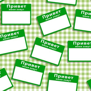 Scattered Russian 'hello my name is' nametags - green on gingham