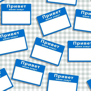 Scattered Russian 'hello my name is' nametags - blue on gingham