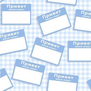Scattered Russian 'hello my name is' nametags - light blue on baby blue gingham