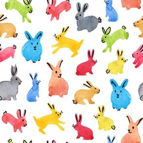 Watercolour Bunnies - Colorful Rabbits Kids