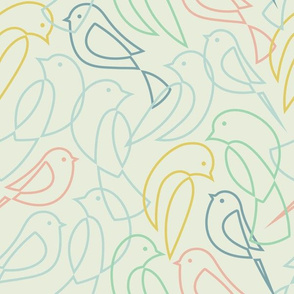 Minimal Flock - Linear Birds Multi-color