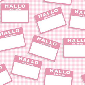 Scattered German 'hello my name is' nametags - light pink on baby pink gingham