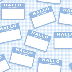 Scattered German 'hello my name is' nametags - light blue on baby blue gingham