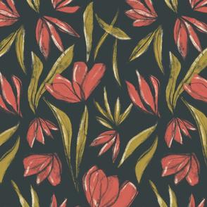 Conte Bloom - Hand-drawn Floral Dark