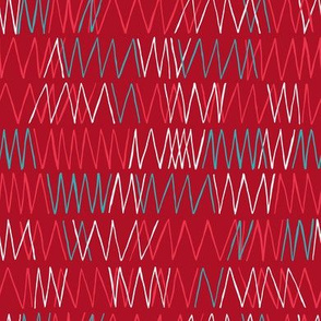 Flower Field - Red Zig Zag Geometric