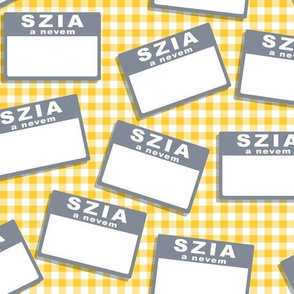 Scattered Hungarian 'hello my name is' nametags - grey on yellow gingham