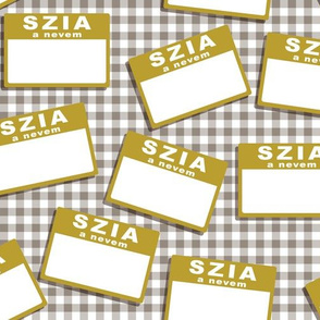 Scattered Hungarian 'hello my name is' nametags - mustard on grey gingham