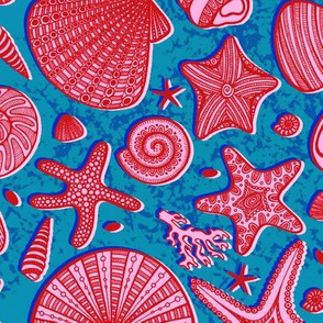 Summer Shells//Pink and Blue//Large Scale