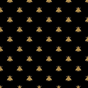 Napoleonic Bees ~ Faux Gilt on Blackest Black ~ 8 inch repeat