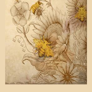 Honey Bees On Sunflowers Tea Towel