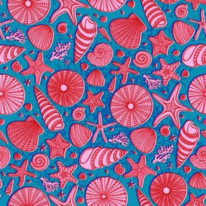 Summer Shells//Pink & Blue//Small Scale