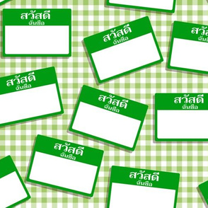 Scattered Thai 'hello my name is' nametags - green on gingham