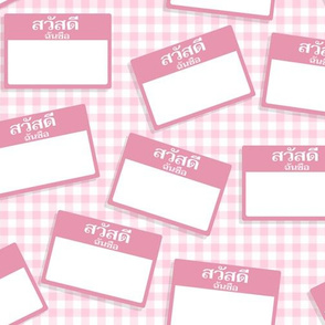 Scattered Thai 'hello my name is' nametags - light pink on baby pink gingham