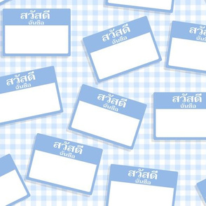 Scattered Thai 'hello my name is' nametags - light blue on baby blue gingham