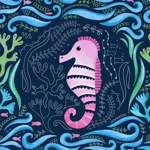 Susie Seahorse Aquamarine Embroidery