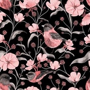 Birds Pink & Black