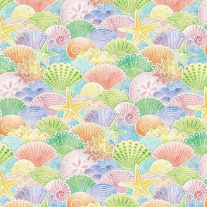 Rainbow Seashells Small- Summer Beach Sea Shells- Watercolor Pastel Colors