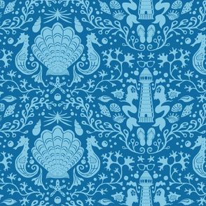 summer beach damask cornflower blue