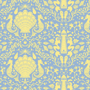 summer beach damask blue yellow