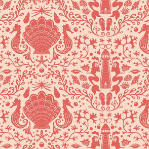 summer beach damask coral red
