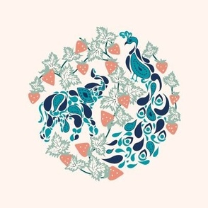 Mayur Gaj- Paisley Elephant and Peacock in Strawberry Patch- Embroidery Template in Peacock Blue Midnight Coral Jade